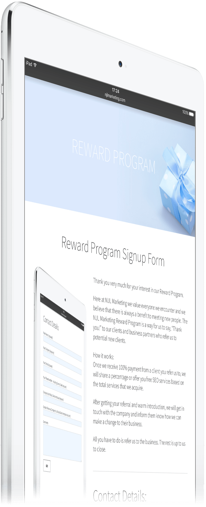 SEO Reward Form on iPad