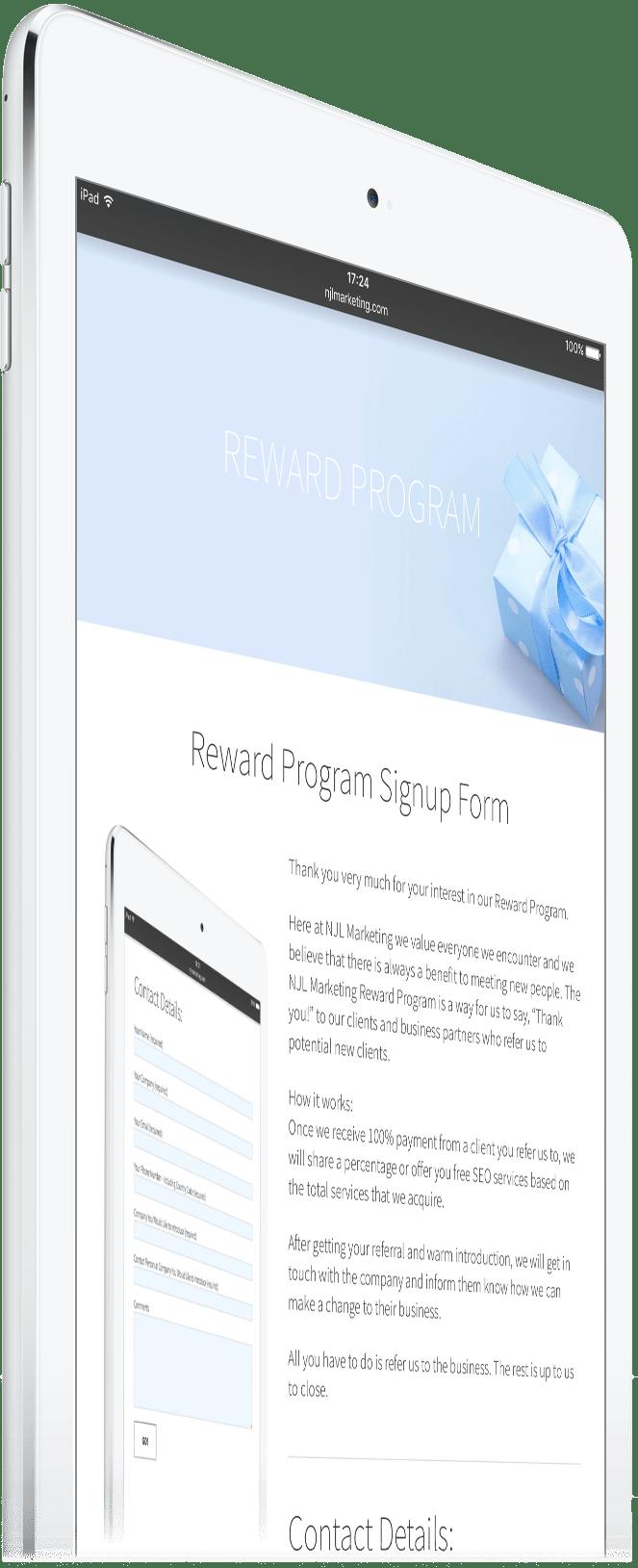 SEO Reward Form on iPad